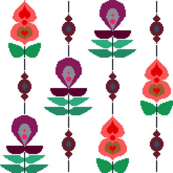 Large retro flowers strung on a beaded rope. Modern cross stitch pattern. Contemporary design.