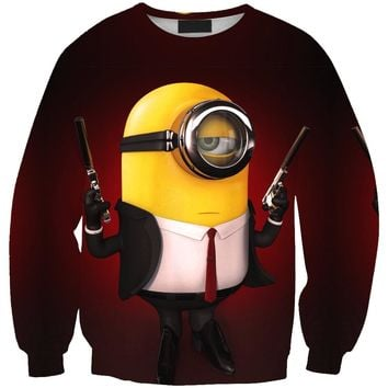 2018 New arrival fashion Men Sweatshirt 3D Minions print simple Casual white relaxtion oversized Clothes Free shipping