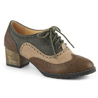 Pin Up Couture Russell Brown Mix Wingtip Heels