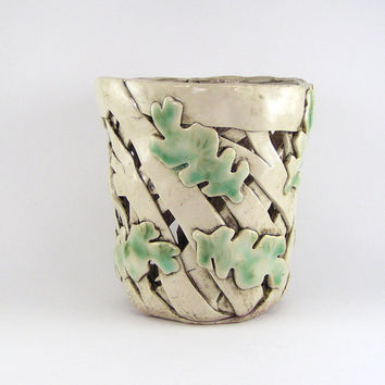 Bone White Orchid Planter with Pale Green Oak Leaves, Orchid Pot or Luminary with Celadon Leafs