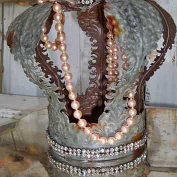 Metal crown rusty zinc finish large French inspired filigree style rhinestones and pearls home decor Anita Spero