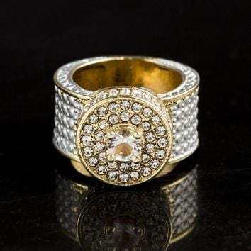 Hip Hop Bling Ice Out Full Rhinestone Round Rings Male Gold Color Cubic Zirconia Rings for Men Women Jewelry Us Size 6-10