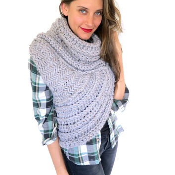 Chunky Knit Asymmetrical Cowl Vest Shawl Scarf One Armed // Huntress Vest in Driftwood // Many Colors and Vegan Options Available