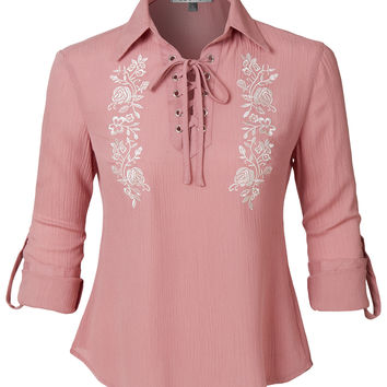 LE3NO Womens Loose Floral Print Long Sleeve Lace Up Front Blouse Top