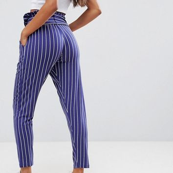 ASOS Peg Pants with Oversized Bow in Stripe at asos.com