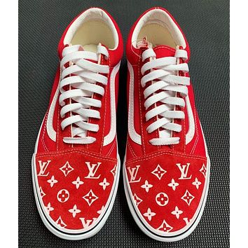 Custom Vans Old Skool Handpainted red