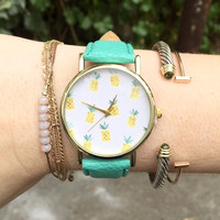 Pineapple Print Leather Watch