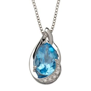 Sterling Silver .01 cttw Diamond and Blue Topaz 18-Inch Chain Pear-Shape Pendant Necklace