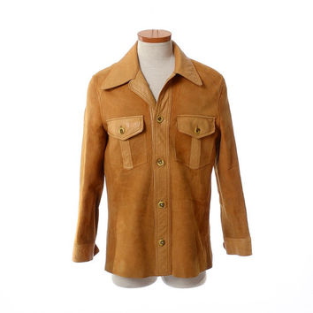 Vintage 50s Californian Leather Reversible Shirt 1950s Rocker Hippie  Boho Rockabilly Suede Jacket Mens Shirt