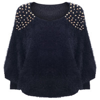 ROMWE | Rivets Detailed Black Fluffy Jumper, The Latest Street Fashion