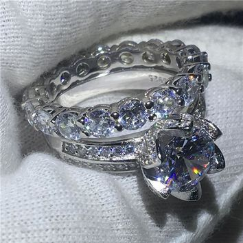 Lovers Promise Flower Jewelry 925 Sterling silver ring 3ct 5A Cz Sona Stone Engagement Wedding Band Rings for Women Bridal Sets