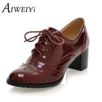 Lace up Platform Pumps Shoes Oxfords Shoes Women Spring Fall Women Pumps Shoes Soft PU Leather Women High Heels Casual Shoes