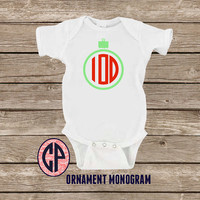 Infant Baby ORNAMENT MONOGRAM Onesuit Bodysuit Christmas Onesuit Holiday Onesuit