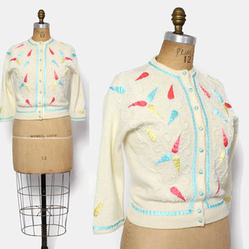 Vintage 60s BEADED Applique Cardigan/ 1960s Ivory Angora Wool Blend Pastel Cardi Sweater