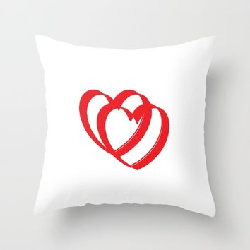Hearts in white Throw Pillow by VickaBoleyn