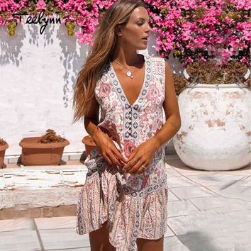 TEELYNN mini 2018 boho dresses sexy v-neck floral print summer dress hippie women dresse rayon sleeveless short dress vestidos