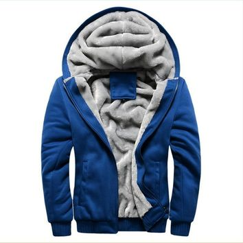 Thicken Wool windbreaker Men's Warm Winter Coats Hoodies Sweatshirts Cotton Polo Bombe