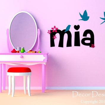Girls Custom Name Wall Decal - by Decor Designs Decals, birds decal wall decal flying birds decal Flower decal flower name decal nursery decals playroom decals name 325