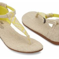 TOMS Shoes Yellow Burlap Women's Ankle Strap Flat Playa Sandals,