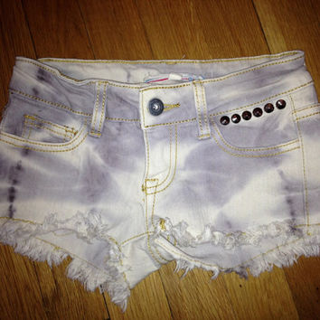Girls Vintage Havana Custom Studded ombre distressed denim Jean Shorts girls Sz 8