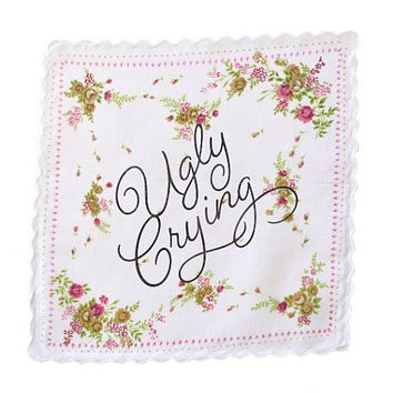 Ugly Crying Retro Floral Print Cotton Handkerchief