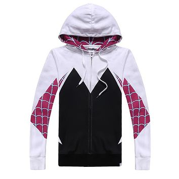 Spider-Man Spider Gwen Cosplay Outfit Women Men Coat Hoodies Sweatshirts
