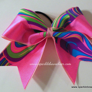 Neon Twister Swoosh Cheer Bow Hair Bow by SparkleBowsCheer on Etsy