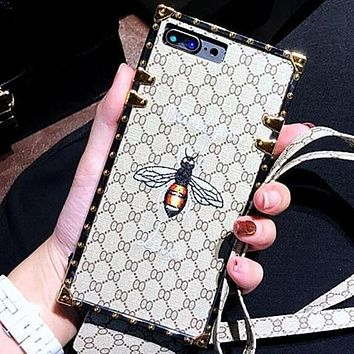 GUCCI Fashion Bee Embroidery iPhone Phone Cover Case For iphone 6 6s 6plus 6s-plus 7 7plus 8 8plus