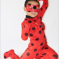 New 2017  Child Lady Bug Spandex Full Lycra Zentai Suit Halloween Girls Ladybug Cosplay Costume