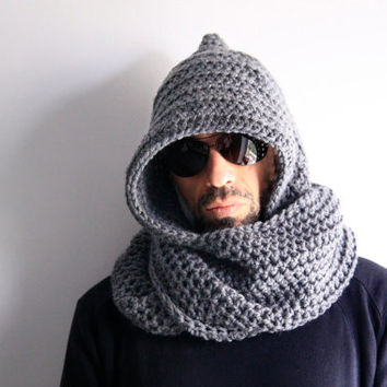 Men grey hooded infinity scarf unisex hood circle scarf, Calypso Hood, winter fashion