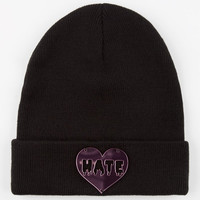 Hate Heart Beanie Black One Size For Women 24562410001