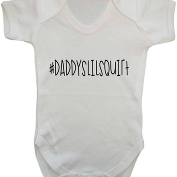 Hashtag Social Media Trending Daddy's Little Squirt Funny Nickname Baby Onesuit Vest