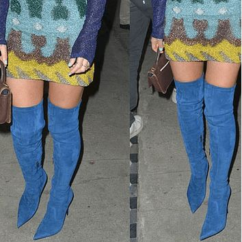 High Heel Suede Pointed Toe Over Knee Blue Boots