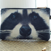 Racoon pouch, Raccoon pouch, racoon purse, racoon clutch, bear purse, bear clutch, bear lover pouch, bear makeup bag, PRA-230
