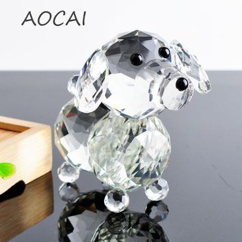 Cute Glass Crystal dogs Figurines Paperweight Crafts Art&Collection Table Car Ornaments Souvenir Home Decor Wedding Gifts