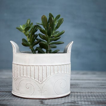 White Ceramic planter , large winged  Vase , White Modern  Planter ,  spirals & stripes patterned  Vase ,  home decor