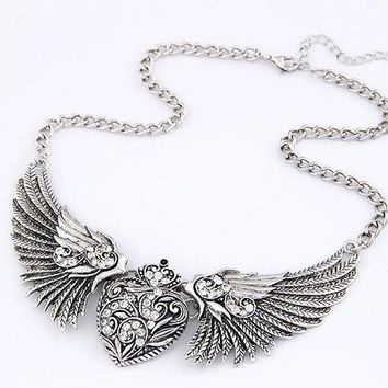 2016 New Punk Antique Gold Silver Ethnic Vintage Crystal Big Curved love angel wings Necklaces & Pendants Maxi Jewelry For Women