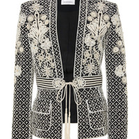 Embroidered Belted Crepe Jacket | Moda Operandi