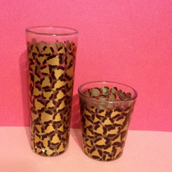 Hand Painted Leopard Print Shot Glasses Set