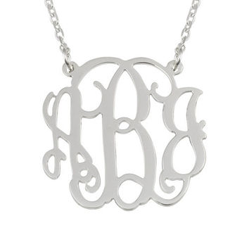 Three Initial Monogram Necklace - 1.5 Inch Wide Sterling Silver 925