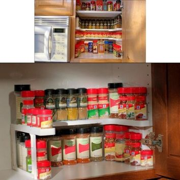 2 Layer Adjustable Kitchen Spice Organizer Rack
