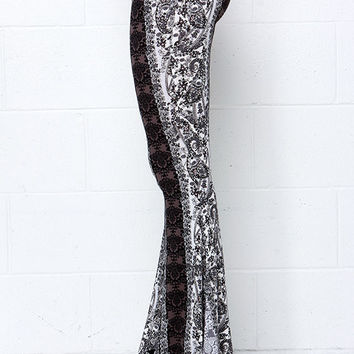 Foxglove Fairy Black and Ivory Print Flare Pants