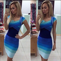 Party Dress Gradient Color Bodycon Dress Temperament Mini Hip-wrapped Dress Bandage Dress ZB0847 = 5738668161