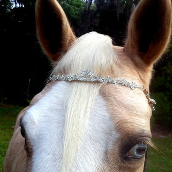 Glittering Rhinestone Tiara Browband for Horse or Pony  - Equine Tack Jewelry - for Princess, Bride, Snow Queen Costumes