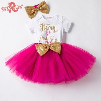 One Year Baby Tutu Clothes Sets Kids Clothes For Girl 1st Birthday Outfits Toddler Girl Baptism Clothing Sets Suits Baby Costume