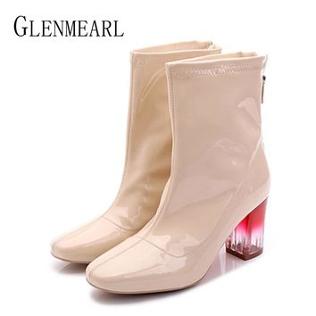 Women Boots Winter Chunky High Heels Pantent Leather Mid Calf Martin Boots Ankle Woman Shoes Winter Warm Punk Pointed Toe DE