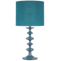 Heal's   Teal Turned Wood Table Lamp with Velvet Shade > Table Lamps