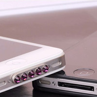 Fashion Swarovski spherical dustproof  data cable plug , Cap Jack,anti dust  for Iphone 4 ,iphone 4s  Free Shipping