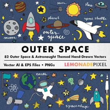 Outer Space Clip Art - Hand Drawn clipart, Stars digital paper, sci-fi space scrapbooking paper, galaxy planets moon spaceship stars clipart