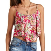Tropical Print Trapeze Crop Top